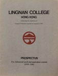 Lingnan College Hong Kong : prospectus for advanced level and equivalent courses 1979-1981