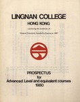 Lingnan College Hong Kong : prospectus for advanced level and equivalent courses 1980