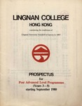 Lingnan College Hong Kong : prospectus for post advanced level programmes (years 3-5) starting September 1980 by Lingnan College