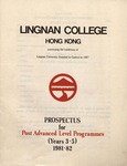 Lingnan College Hong Kong : prospectus for post advanced level programmes (years 3-5) 1981-82 by Lingnan College