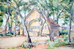 Swasey Hall 懷士堂 and other Buildings, watercolour sketch